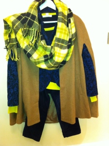 layering ... camel cape, colour block midnight blue/yellow sweater, midnight blue tapestry  blazer, yellow/black tartan scraf