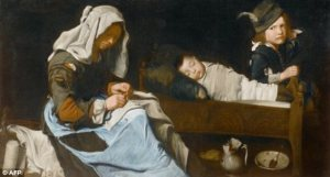 denim in art, women sewing with two children, master of the blue jeans, dailymail article