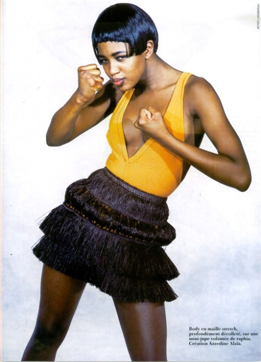 naomi campbell, french vogue cover, 1989 in azzedine alaia