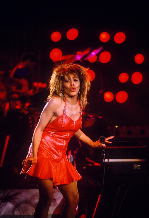 tina turner wears azzedine alaia, red lathre drss