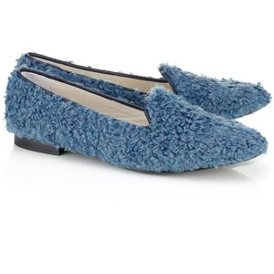 blue shearling slip ons by frederica moretti