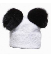 fuzzy wuzz hat white with 2 black pom poms by frederica moretti