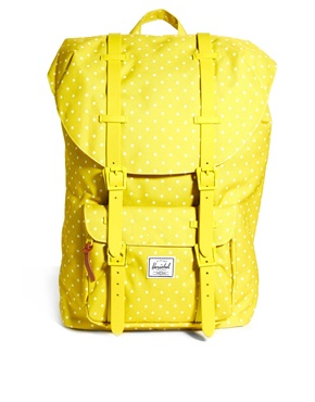 backpack Herschel yellow:white polka dots