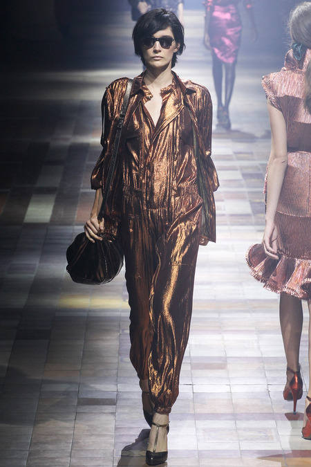 shiny clothes lanvin copper jumpsuit stylec