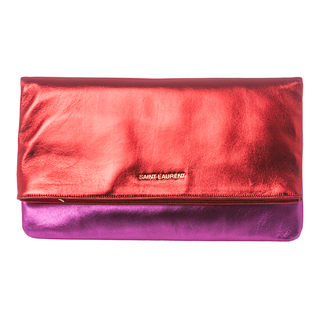 shiny cluthc red and magenta saint laurent overstock.com