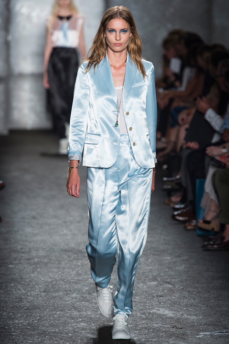 shiny m by mj powder blue trouser suit