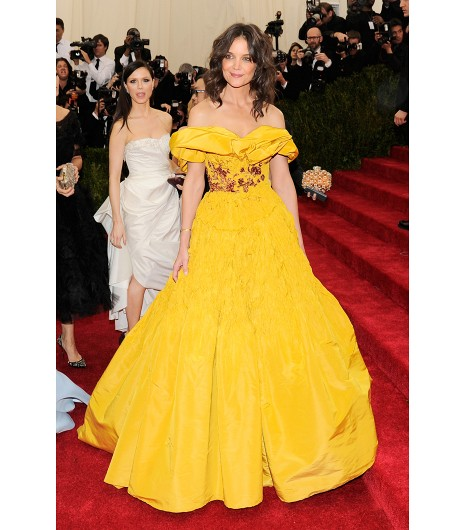 met ball marchesa silk, hand pleated katie holmes