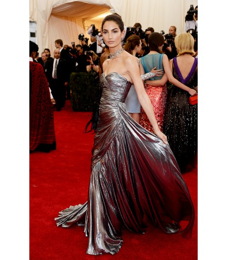 met ball michael kors silver lame strapless  lily aldridge
