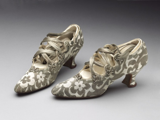 VandA wedding shoes silk:leather bought from Peter Robinson ltd 1914 worn by Phyllis  Blai