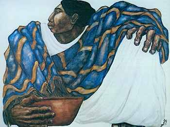 rebozo painting warchild13com unknown artistMujer_con_Rebozo_Azul-tm