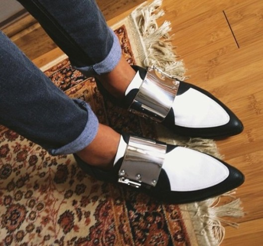 metallic brogues wheretoget.it marni gs5ret-l-610x610-shoes-malcolm-shoes-black-and-white-pointy-toe-shoes-pointed-flats-asos-flat-shoes-metallic-buckle