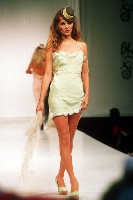KATE MOSS models for mccartney  graduation show 1995