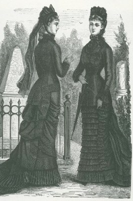 mourning attire, victorian, ladies in partk