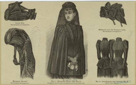 mournig attire, women, Victorian hats