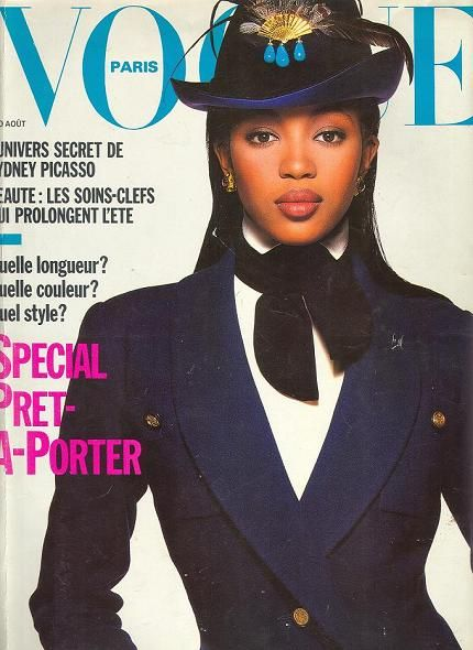 naomi-campbell first french vogue cover from fabmagazineonlinecom-vogue-france-august-1988