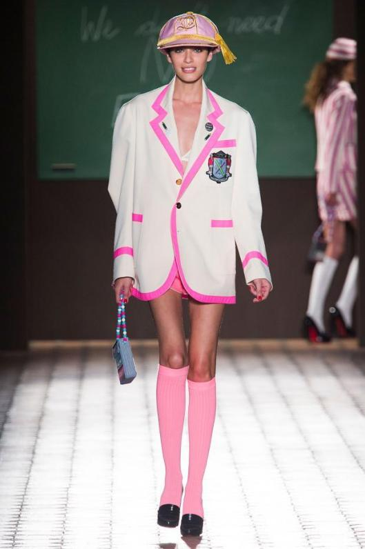 school uniform, white/ pink trim