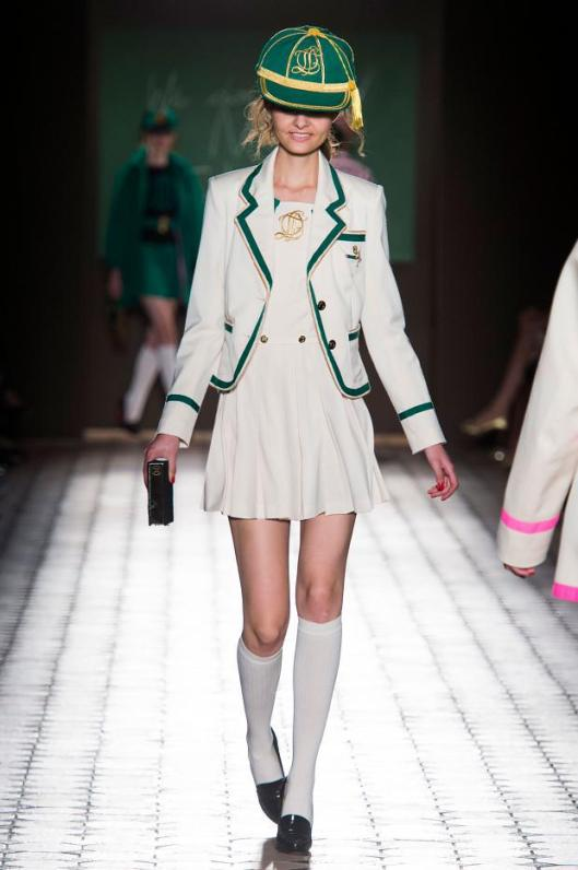 school uniform, white dress, white jacket with green trim