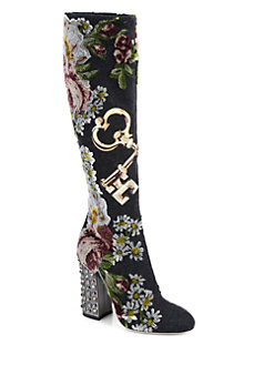 shoes dolce & gabbana embroidered knee high boots saks0468697050843_247x329