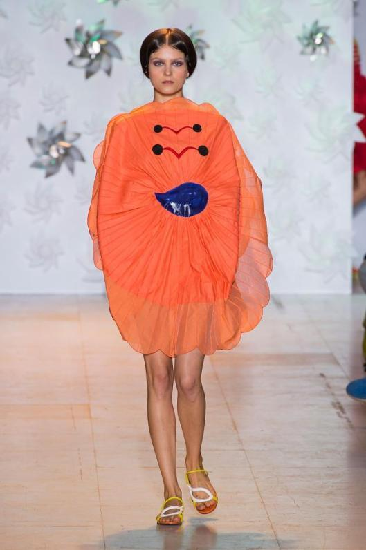 orange, flower shape dress