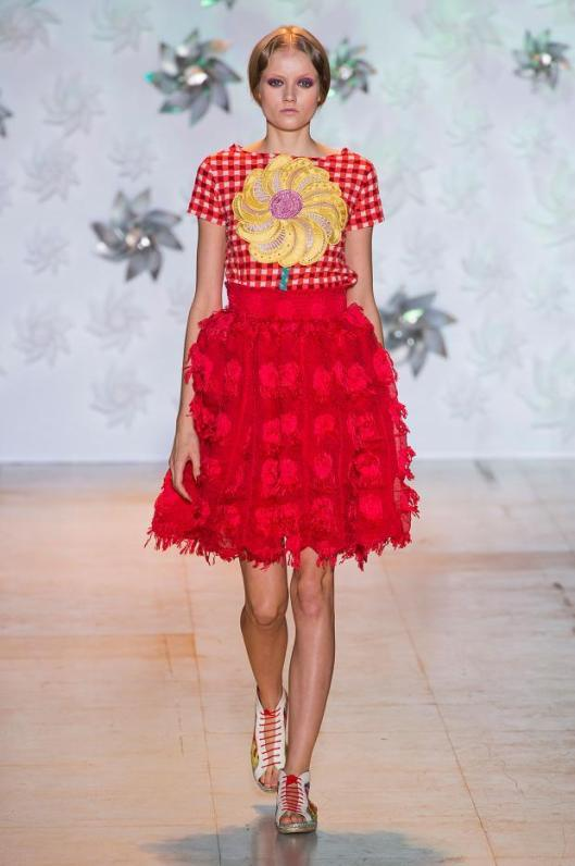 red check shirt with yellow flower, red flounce skirt