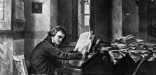Beethoven composing at the piano