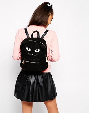 backpack, faux fur cat