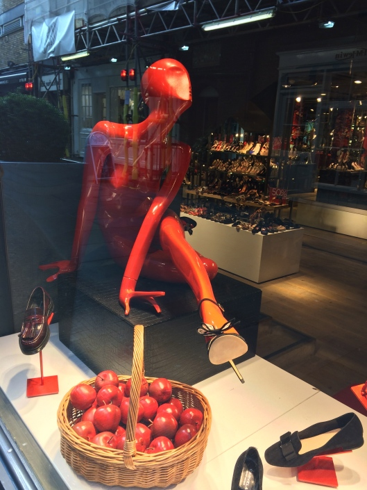 mannequin, red woman form, undressed, posed, kurt geiger
