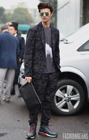mens suiting, camo wear, photo by Yu Yung anonymous1003