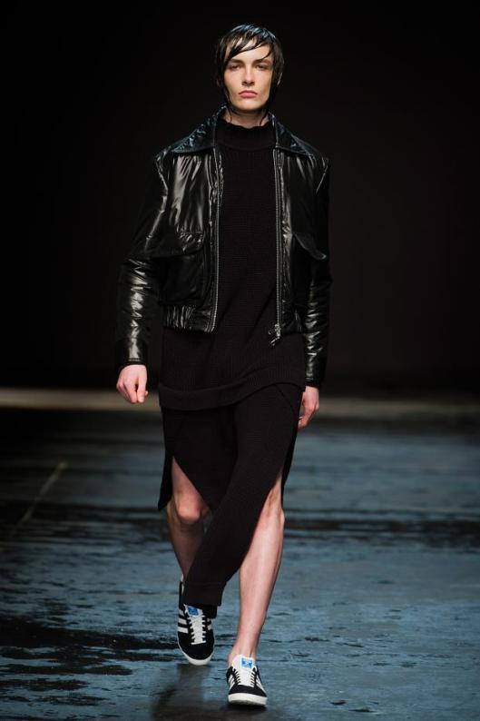 christoper shannon, leather short trousers ensemble, a14