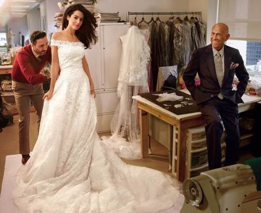 amal clooney, wedding dress, oscar de la renta