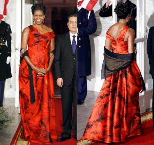 michelle obama in oscar de la renta