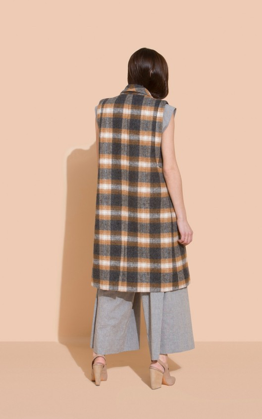 rachel comey, sleeveless coat, plaid
