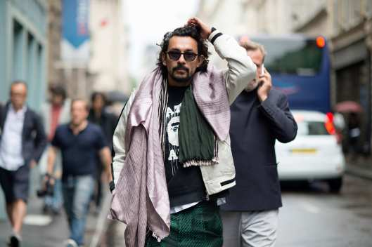scarf, street styling, designer Haider Ackermann, two scrarves worn