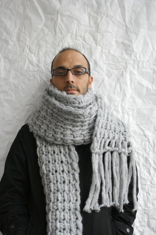 scarf, men, street style, chunky