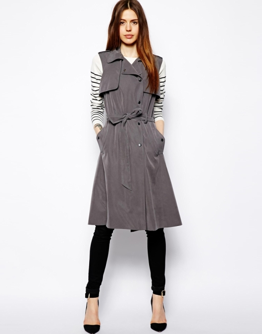 asos, sleeveless coat, grey, trench