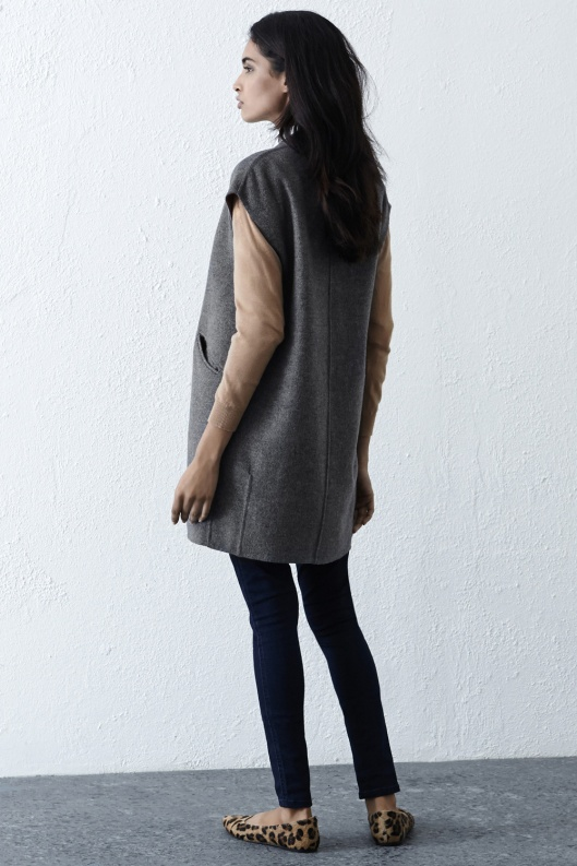 warehouse, sleeveless coat, grey, cocoon shape