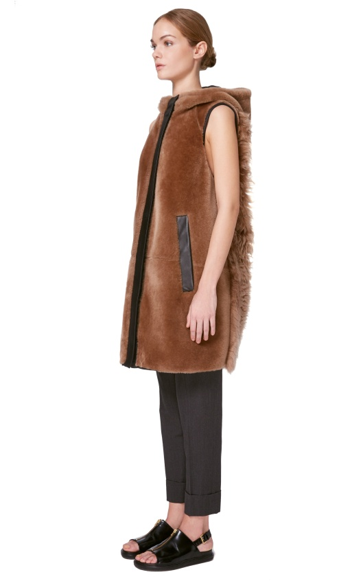 marni, sleeveless coat, hood, faux fur, leather trim