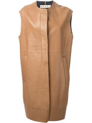 marni, sleeveles coat, leather