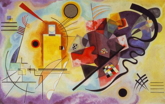 kandinsky painting: yellow, red , blue 1925