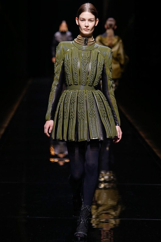 autumnal green, roman  soldier kilt, from Balmain