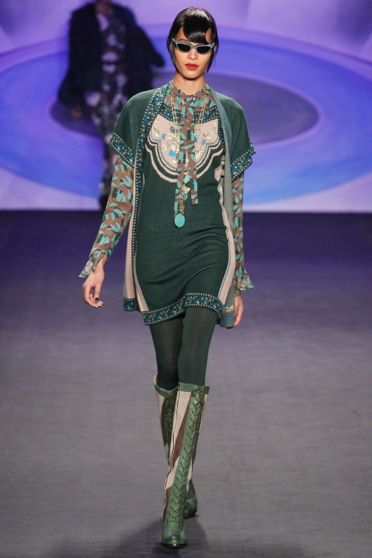 autumnal green knit, print, boots anna sui