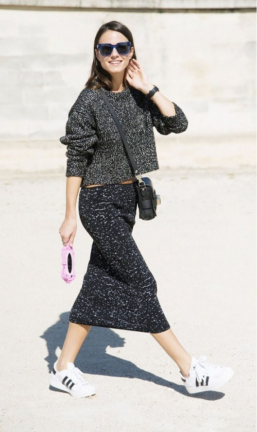 knitwear, grey speckled skirt and matching top