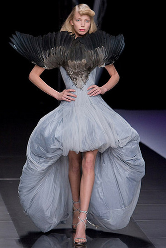 Alexander McQueen, s/s 2008, feather 'Wingspan' front dress