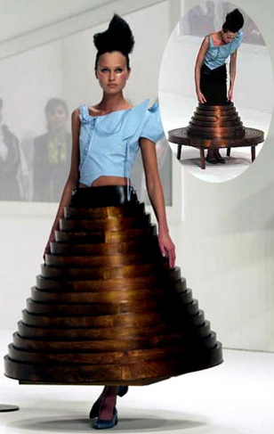 Hussein Chalayan, table skirt, a/w 2000
