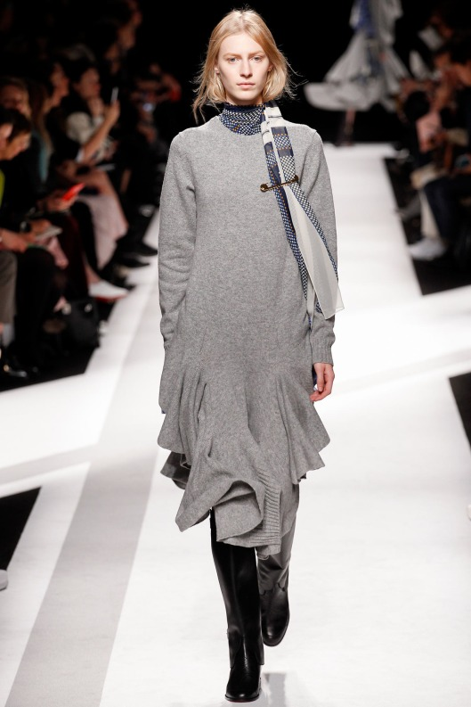 light grey, undulated hem sweater dress, from Sacai