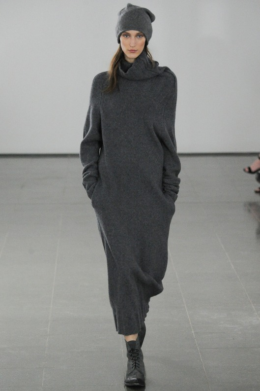 dark slate grey cowl neck sweater dress from Joseph