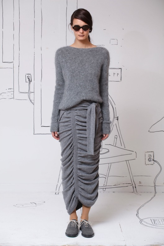 grey cashmere jumper and maxi form fit wave pleat skirt from Band of Outsiders