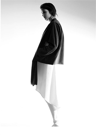 pedram karimi, a 14, asymmetry, black top, white skirt