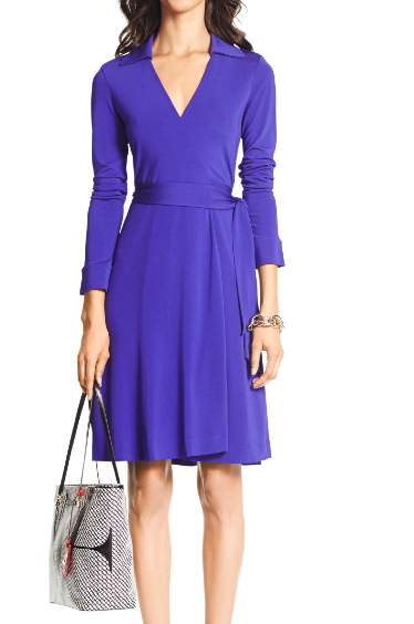DVF, wrap dress, purple