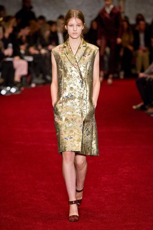 erdem, a14, sleeveless gold coat dress, embroidered